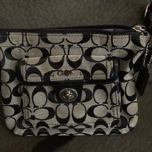 Canvas coach print black and gray bag